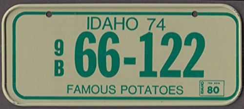 1980 Post Honeycomb Cereal license plate Idaho Famous Potatoes 9B 66-122
