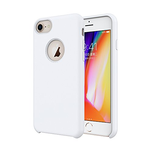 iPhone 8 Silicone Case/iPhone 7 Silicone Case/iPhone 6 Silicone Case, Soft Touch, Comfortable Grip, Slim Fit, Tiamat Liquid Silicone Case with Microfiber Cloth Lining Cushion - White