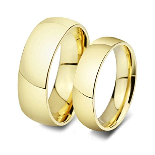 Gnzoe 2pcs Jewelry Men Women Rings 18K Gold Plated 6MM/8MM Gold (with Gift (14k White Gold Venetian Box)