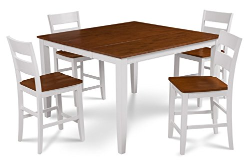 Trithi Furniture Fullerton Extendable Table and Wood Seat Chair in White Counter Height with Cherry Top Color Set of 5