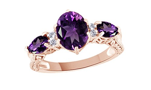Jewel Zone US Simulated Amethyst & White Topaz CZ Three Stone Ring in 14k Rose Gold Over Sterling Silver (1.97 Cttw)
