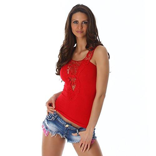camicia in T Top maniche senza pizzo design shirt floreale costola motivo alla pizzo shirt Signore di Rosso moda CqwYEIn