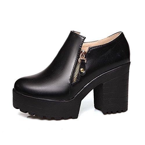 Damen Weiches Material Rund Zehe Hoher Absatz Reißverschluss Rein Pumps Schuhe, Grau, 37 AllhqFashion