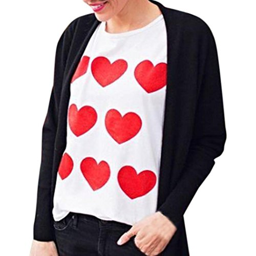 Qisc Womens Long Sleeve Valentines Day T-Shirt Cat Printed Tunic Tops Casual T Shirt Holiday Party Blouse (White Heart, L) ()