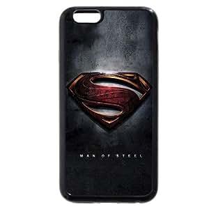 UniqueBox - Customized Personalized Black Soft Rubber(TPU) iPhone 6+ Plus 5.5 Case, Superman Man Of Steel Logo iPhone 6 Plus case, Only fit iPhone 6+ (5.5 Inch)