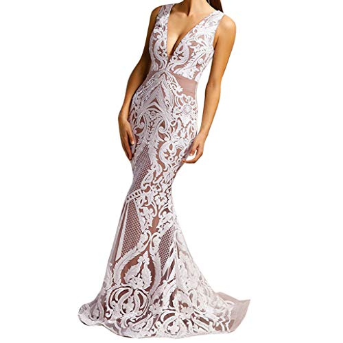 Huifa 2019 V Neck Maxi Dress A line Floor Fork Length Party Gown (White,L)