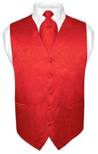 Men's Paisley Design Dress Vest & NeckTie RED Color Neck Tie Set (Vest Color)