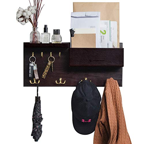 JackCubeDesign Entryway Coat Rack Wall Mount Key Holder Mail Envelope Hook Organizer Clothes Hat Hanger with Faux Brown Leather Shelf and Tray(Solid Wood, 20.5 x 9.1 x 3.4 inches) - ()