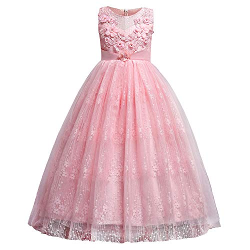 HUANQIUE Girl Floor Length Pageant Bridesmaid Dress Tulle Flower Girl Ball Gown Pink 13-14 Years ()