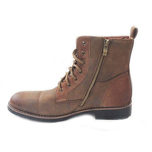 durable service NEW MENS HIGH ANKLE BOOTS MILITARY COMBAT STYLE LACE UP  ZIPPERED SHOES BROWN606