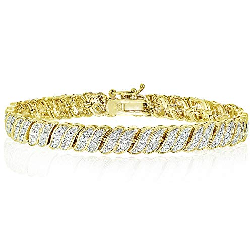 Yellow Gold Flashed Brass Polished S Bar Design Round Diamond Accent Tennis Bracelet, JK-I3