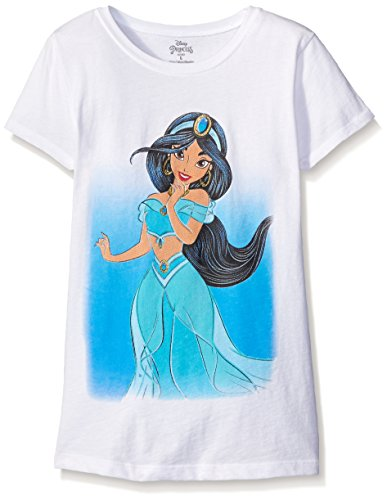 Disney Girls' Big Girls' Princess Jasmine Short Sleeve T-Shirt, White, Large-12/14 (Princess Jasmine Disney)