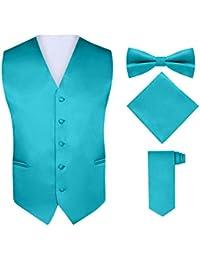 Men's 4 Piece Vest Set, with Bow Tie, Neck Tie & Pocket Hankie