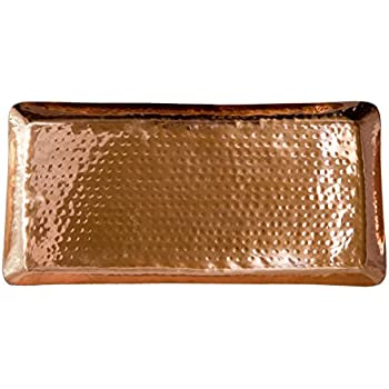 """Pure Copper Serving Hammered Rectangular Tray Antique Charger Platter For Kitchenware, Party, Bar, Household & Outdoor Use - Best Copper Gifts - 17"""" x 8.5"""" By Alchemade"""