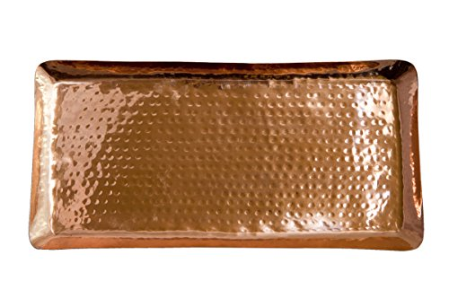 Homer Laughlin Wells (Pure Copper Serving Hammered Rectangular Tray Antique Charger Platter For Kitchenware, Party, Bar, Household & Outdoor Use - Best Copper Gifts - 17