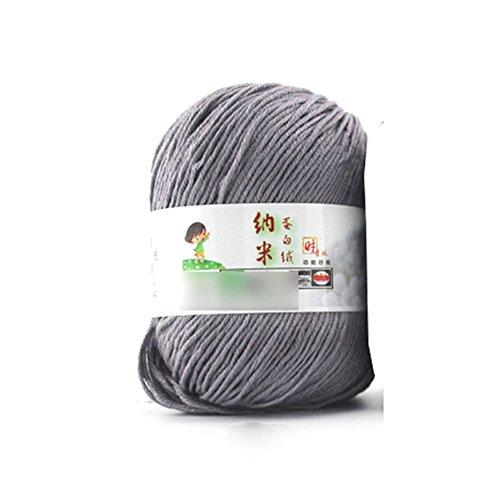 MMRM Natural Silk Wool Yarn Soft Skein Fibroin Velvet Fiber Yarn Needlecraft - Grey
