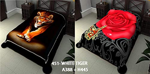Tiger Mink Blanket - Jenin Reversible Animal Print Super Soft Mink Blanket 2 Ply White Tiger Blankets King Size Bed Blankets Choose from Tiger/Flower or Wolf/Dolphin Prints (Tiger/Flower A388-H445)