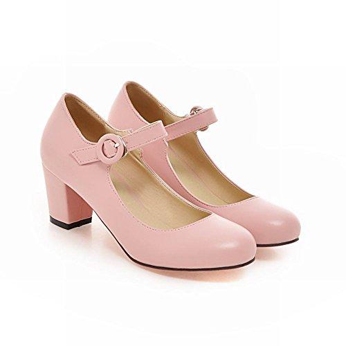 Carolbar Women's Sweet Cute Buckle Block Mid Heel Mary Jane Shoes Pink XK6oIUl4