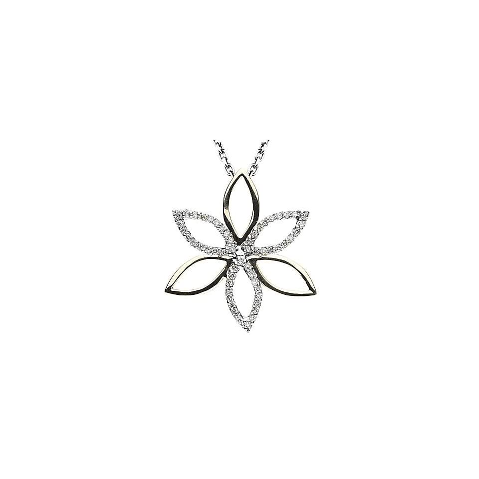 14k Two tone Gold Diamond Floral Pendant with Chain 16 (0.31cttw, F Color, VS Clarity)