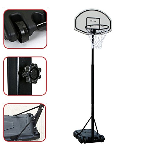Portable Outdoor Indoor 6.7 Ft Basketball Goal Hoop Stand Alone System Kit Set w/ Wheel – Height Adjustable Backboard Rim High Performance Pro Court Strong for Driveway Home House Kid Junior Senior