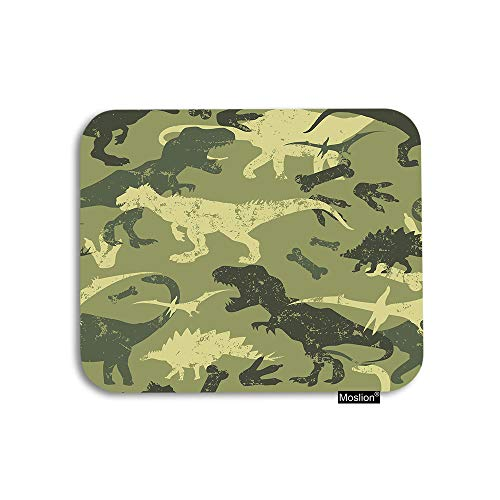 (Moslion Dinosaur Mouse Pad Wild Animal Jungle Forest Camouflage Dinosaurs Skull Gaming Mouse Pad Rubber Large Mousepad for Computer Desk Laptop Happy Father's Day 7.9x9.5 Inch Green )