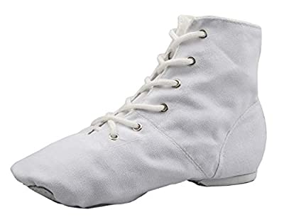 NLeahershoe Lace-up Canvas Dance Shoes Flat Jazz Boots for Practice, Suitable for Both Men and Women (1.5K/32, white)