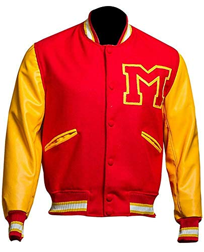 Men's MJ Thriller Red M Logo Varsity Letterman Bomber Jacket with FREE REAL LEATHER WALLET