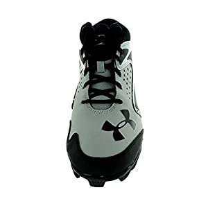Kids Under Armour Leadoff Mid RM JR Baseball Cleat Baseball Grey/Black Size 4