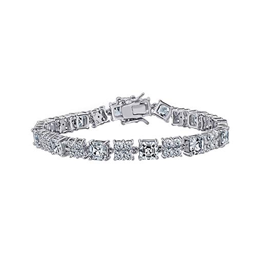 Diamonbliss Platinum Plated Sterling Silver 12.6 ct Round and Asscher Cut Cubic Zirconia Tennis Bracelet, 7.5'' (Womens Watch Bangle Diamond)