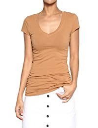 TheMogan Women's Active Basic V-Neck Short Sleeve Tee T-Shirt Stretch Cotton Top
