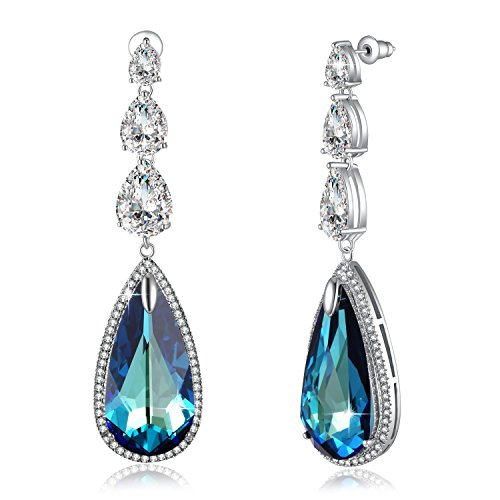 Crystal Earrings For Women PLATO H Love Teardrop Earrings, Blue Crystal Drop Earrings, Women Fashion Water Drop Earrings Made With Swarovski Crystals