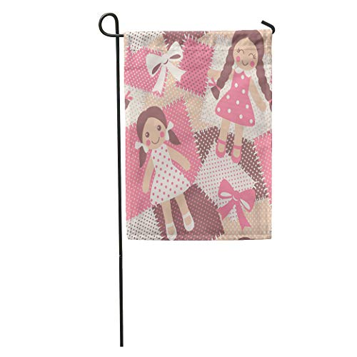 Semtomn Garden Flag Beige Adorable Vintage Rag Dolls Patchwork Cute Toys Pink Baby Home Yard House Decor Barnner Outdoor Stand 28x40 Inches Flag