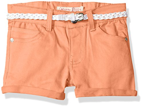 Colette Lilly Girls' Big Belted Twill Short, Coral Flower, 7