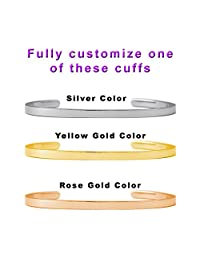 PERSONALIZE YOUR PHRASE, Dolceoro Inspirational Cuff Band, 316L Surgical Grade Stainless Steel