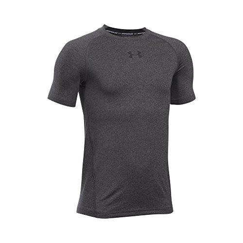 Under Armour Boys' HeatGear Armour Short Sleeve Fitted Shirt, Carbon Heather/Black, Youth Small