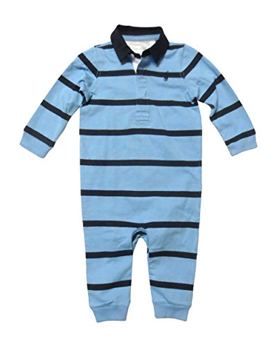 Lauren Baby Layette Ralph - Ralph Lauren Baby Boys' Long-Sleeved Striped Coverall Bodysuit (3 Months, Light Blue/Navy)