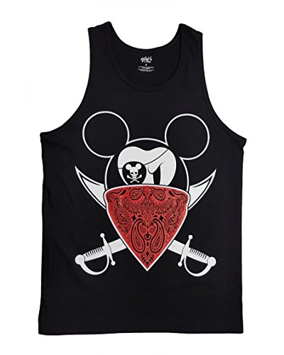 Gangster Pirate Mouse with Red Bandanna Graphic Men's Tank Top Black ()
