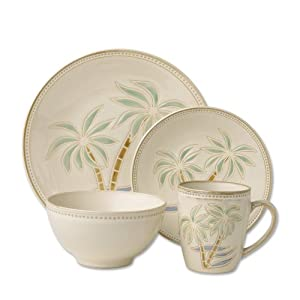 Pfaltzgraff Palm 16-Piece Stoneware Dinnerware Set, Service for 4