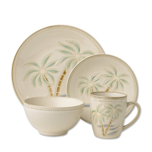 Pfaltzgraff Palm 16-Piece Stoneware Dinnerware Set, Service for 4 (Palm Tree Dinnerware Sets)
