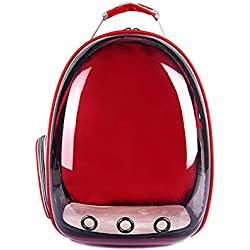 GZU Backpack Carrier Transparent Capsule Pet Cat Dog Kitty Puppy Outdoor Travel Bag - Red
