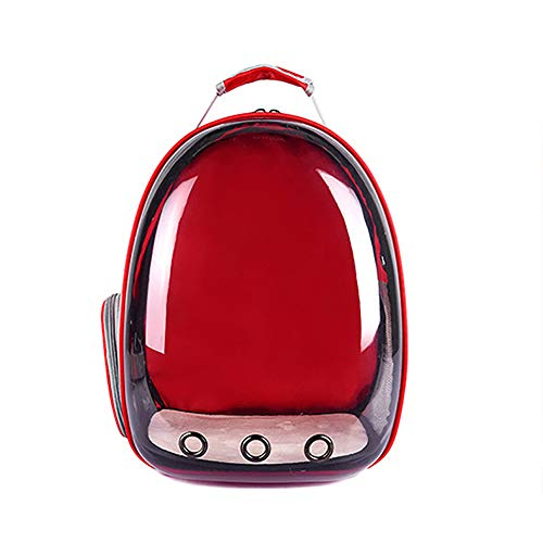 MoO1deer Transparent Capsule Pet Cat Dog Kitty Puppy Backpack Carrier Outdoor Travel Bag for Home - Red ()
