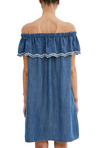 Blue ESPRIT by edc 902 Damen Kleid Wash Blau Medium xUXxFqW