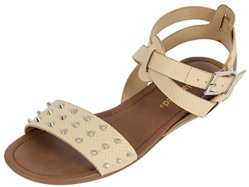 Cityclassified Womens Dart Faux Leather Studded Wide Strap Ankle Strap Flat Sandals, Nude, 6 M US (6 M)