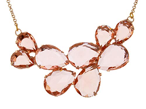 Alilang Rose Gold Champagne Tone Crystal Teardrop Cluster Chunky Statement Bib Pendant - Necklace Crystal Peach