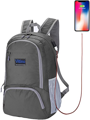 Vitino Backpack With USB Charging Port Water Resistant Lightweight Packable Backpacks for Travel Hiking - Basic Bag for Women Men (Grey)