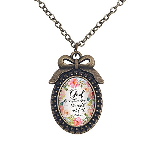 Long Verses for Bible 48cm Pattern Handmade Inspired Bible 4 Chain Gifts Pendant 5pcs with Bling Bowknot Cabochon Necklace Necklace Bling Vintage Bronze Glass of w6SqxwH