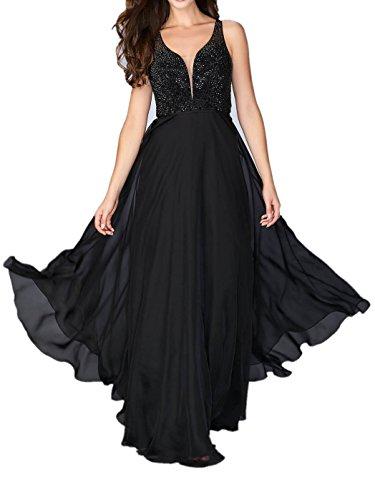 Schwarz Ausschnitt Rock La Damen Chiffon Marie Ballkleider Royal Abendkleider V Bodenlang Blau Braut Linie A Partykleider q1ZYw6q