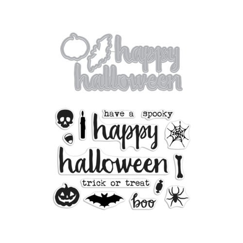 Halloween Clear Stamps - Hero Arts DC197 Halloween Trimmings Stamp & Cut Stamps and Dies