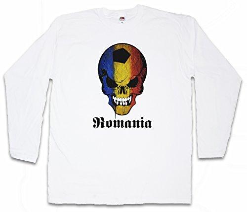CLASSIC ROMANIA FOOTBALL SKULL FLAG LANGARM T-SHIRT – Fußball Fan Hooligan Totenkopf Banner Fahne Rumänien Größen S - 2XL