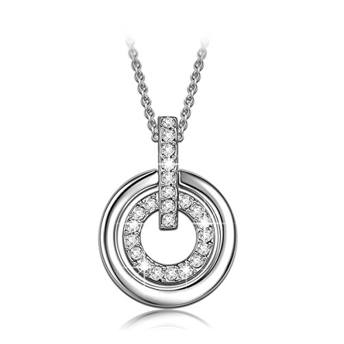 Mothers Day Gifts for Sister LadyColour Sisters Forever Silver Necklace Circle Pendant with Swarovski Crystals Fashion Jewelry for Women sister friend daughter on Birthday christmas wedding graduation - Back To The Future 2016 Costume